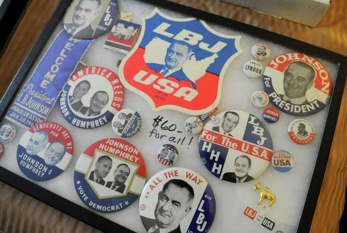 Political campaign buttons from collector Bren Price of Buffalo are displayed, Friday, Sept. 21, 2012, during a political memorabilia show held at the Best Western Sovereign Hotel in Albany, N.Y. (Will Waldron / Times Union)