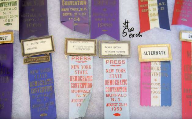 Political convention credentials from collector Bren Price of Buffalo are displayed Friday, Sept. 21, 2012, during a political memorabilia show held at the Best Western Sovereign Hotel across from the University at Albany in Albany, N.Y.   (Will Waldron / Times Union) Photo: Will Waldron