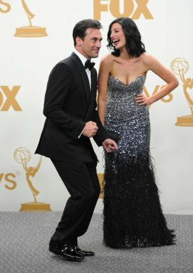Paré goofing around with Jon Hamm at the 2011 Emmys.  (Alberto E. Rodriguez / Getty Images)