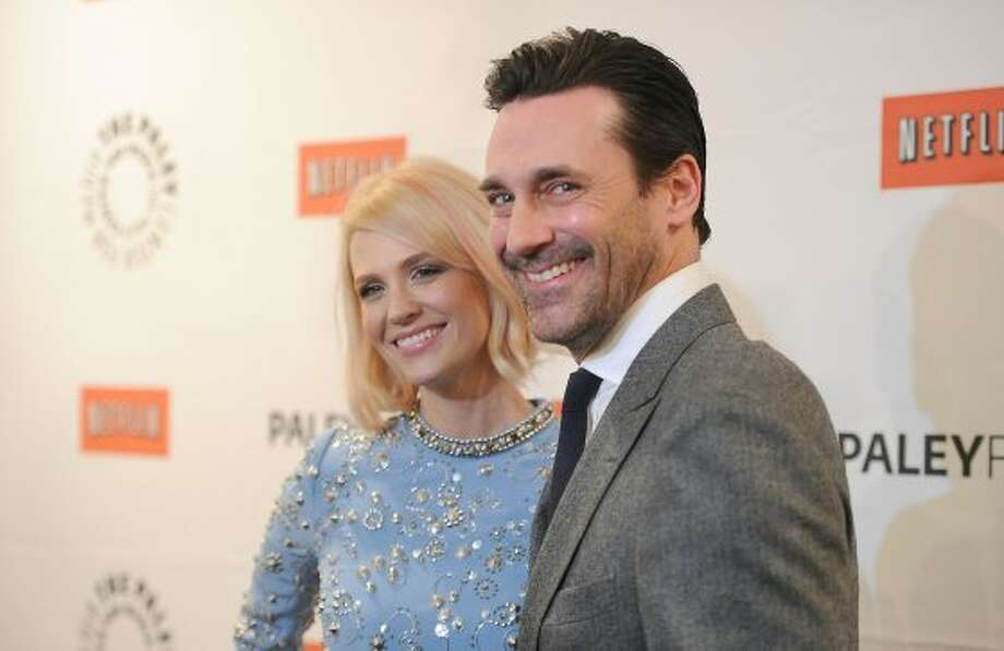 "Jon Hamm in 2012, with January Jones, at a PaleyFest event for ""Mad Men."" Hamm is up for an best acting Emmy this year.  (Jason Merritt / Getty Images)"