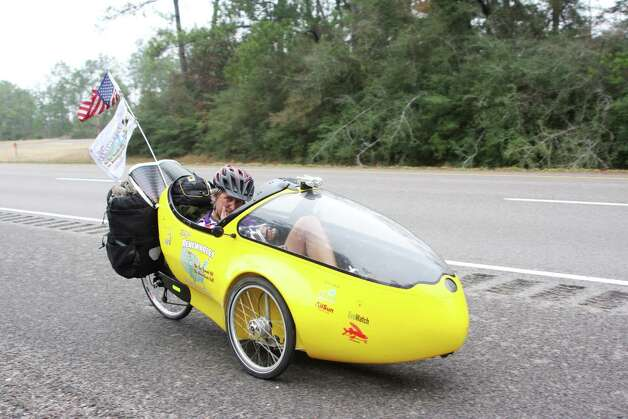 Environmentalist Tom Weis rode his rocket bike through the Big Thicket on his ride from the U.S./Canada border to Port Arthur along the path of the proposed Keystone XL Pipeline in protest of the project. Photo: David Lisenby, HCN_Pipeline