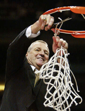 Connecticut coach Jim Calhoun cuts down the net at the NCAA Phoenix Regional Finals, Saturday, March 27, 2004. Connecticut beat Alabama, 87-71, to proceed to the Final Four. Photo: MARK J. TERRILL, AP Photo/Mark J. Terrill / AP2004 Associated Press