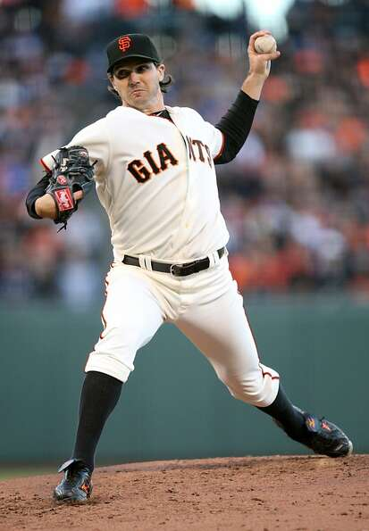 San Francisco Giants pitcher Barry Zito throws against the Los Angeles Dodgers in San Francisco, Cal