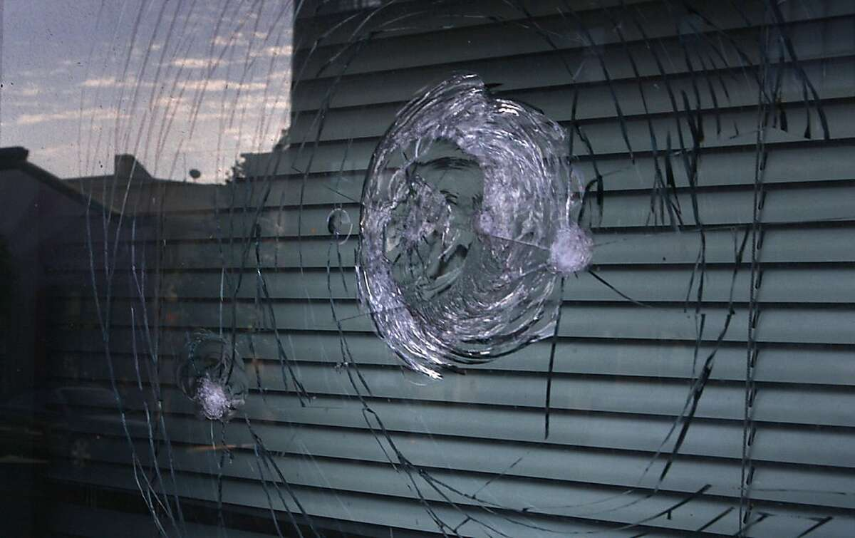 A smashed window on Friday, September 21, 2012, at the SFPD Mission station in San Francisco, Calif., was part of a protest last night concerning a police shooting.