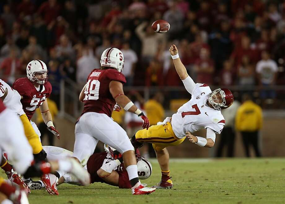 USC's Matt Barkley, the presumptive Heisman Trophy favorite, was sacked four times by Stanford. Photo: Ezra Shaw, Getty Images