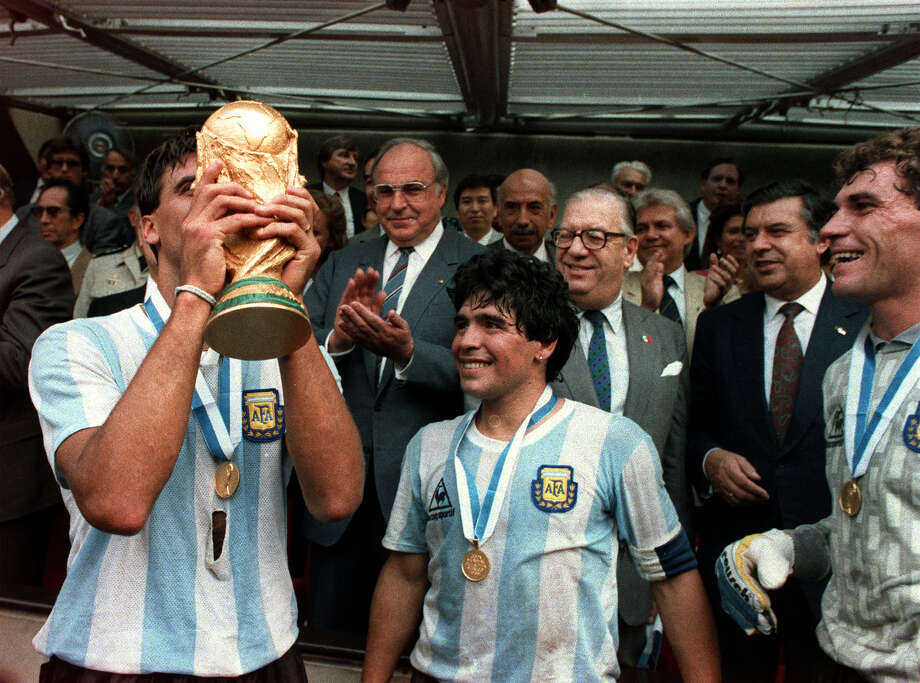 The last time Mexico hosted the World Cup, Diego Maradona, right, and his Argentina teammates lifted the  trophy at Azteca Stadium in Mexico City in 1986.