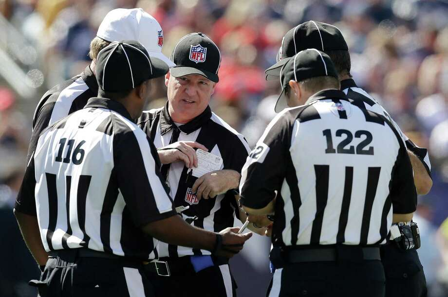 The replacement officials have received criticism for their performance, which the NFL hopes to improve through training tapes, conference calls and meetings. Photo: Elise Amendola / AP
