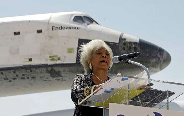 "Nichelle Nichols, the actress who portrayed Lt. Uhura on the 1960s televesion series ""Star Trek,"" speaks after the Space Shuttle Endeavour lands aboard a NASA Boeing 747, at the conclusion of its last flight at Los Angeles International Airport Friday, Sept. 21, 2012.  In a few weeks Endeavour will be towed through city streets to its new home at the California Science Center in downtown Los Angeles. (AP Photo/Reed Saxon) Photo: Reed Saxon"