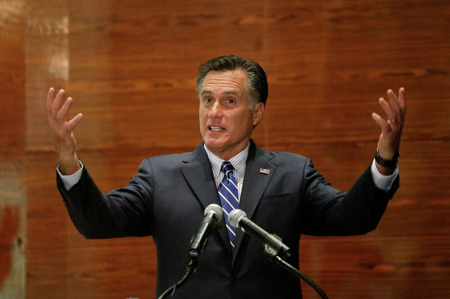 Republican presidential candidate and former Massachusetts Gov. Mitt Romney speaks at a campaign fundraising event at Red Rock Hotel and Casino in Las Vegas, Friday, Sept. 21, 2012. (AP Photo/Charles Dharapak) Photo: Charles Dharapak