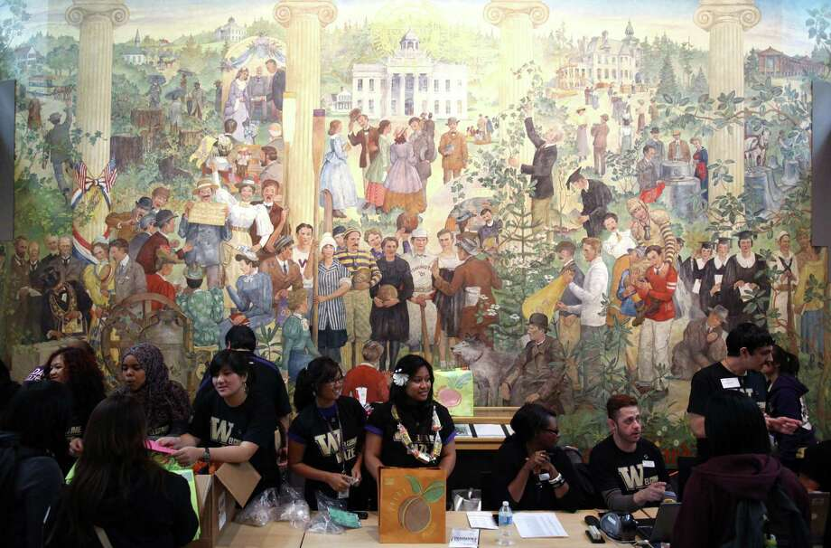 A mural from the original building is shown in the newly remodeled HUB. Photo: JOSHUA TRUJILLO / SEATTLEPI.COM