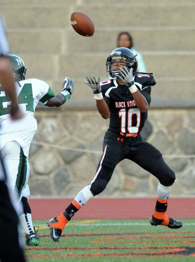 Stamford's John Pasard makes a catch in the end zone for a touchdown during Friday's game at Stamford High School on September 21, 2012. Photo: Lindsay Niegelberg / Stamford Advocate