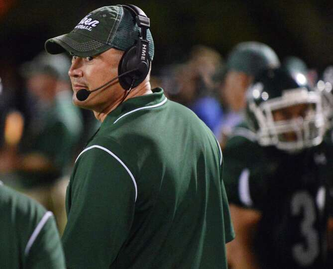 Shen head coach Brian Clawson on the sidelines during Friday night's game against Ballston Spa  in C