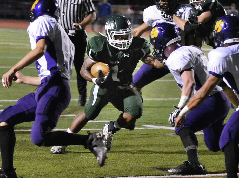 Shenendehowa's #1 Marcelino Christie scores against Ballston Spa Friday night in Clifton Park Sept. 21, 2012.  (John Carl D'Annibale / Times Union) Photo: John Carl D'Annibale / 00019289A