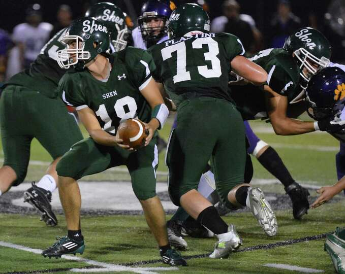 Shen QB #18 Christopher Fama in action against Ballston Spa Friday night in Clifton Park Sept. 21, 2