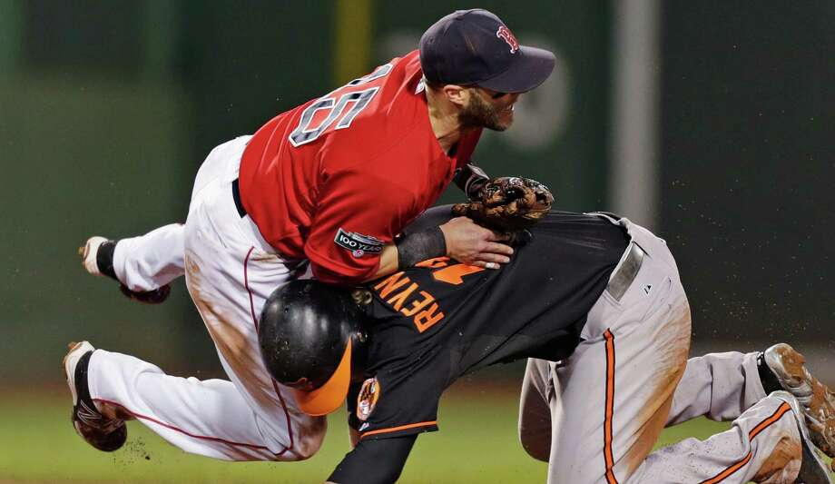 Boston Red Sox second baseman Dustin Pedroia, left, collides with Baltimore Orioles' Mark Reynolds, who is out at second while unsuccessfully trying to break up a double play, during the sixth inning of a baseball game at Fenway Park in Boston, Friday, Sept. 21, 2012. (AP Photo/Charles Krupa) Photo: Charles Krupa