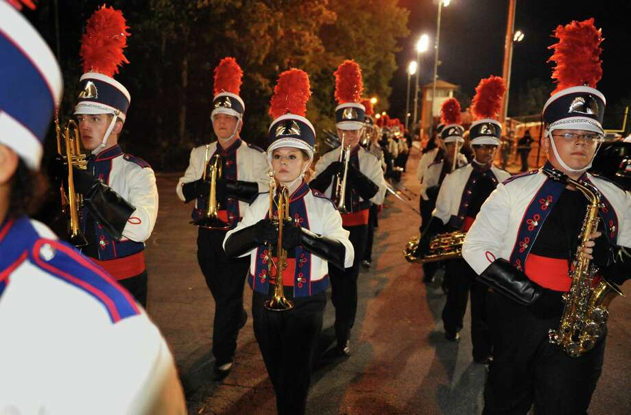 Schenectady High School marching band during Friday night's game against Shaker High in Schenectady Sept. 21, 2012.  (John Carl D'Annibale / Times Union) Photo: John Carl D'Annibale / 00019288A