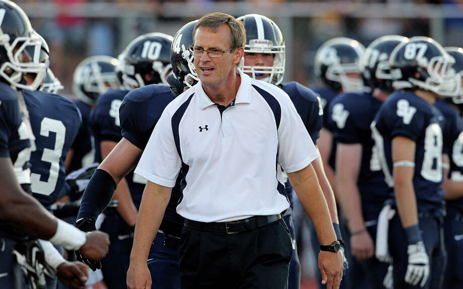 Coach Larry Hill gets the Rangers ready as Smithson Valley hosts Madison on September 21, 2012. Photo: Tom Reel, Express-News / ©2012 San Antono Express-News