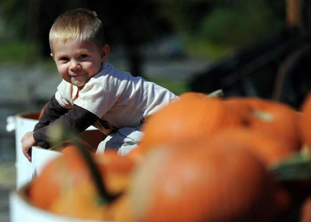 Henry Holland, 21-months-old, of Brooklyn, NY, sits on a pile of pumpkins Wednesday, Sept. 19, 2012 at Silverman's Farm in Easton, Conn. Photo: Autumn Driscoll / Connecticut Post