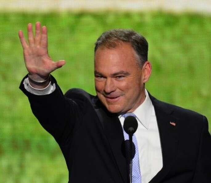 Former Virginia Governor Tim Kaine speaks at 2012 Democratic National Convention at the Time Warner