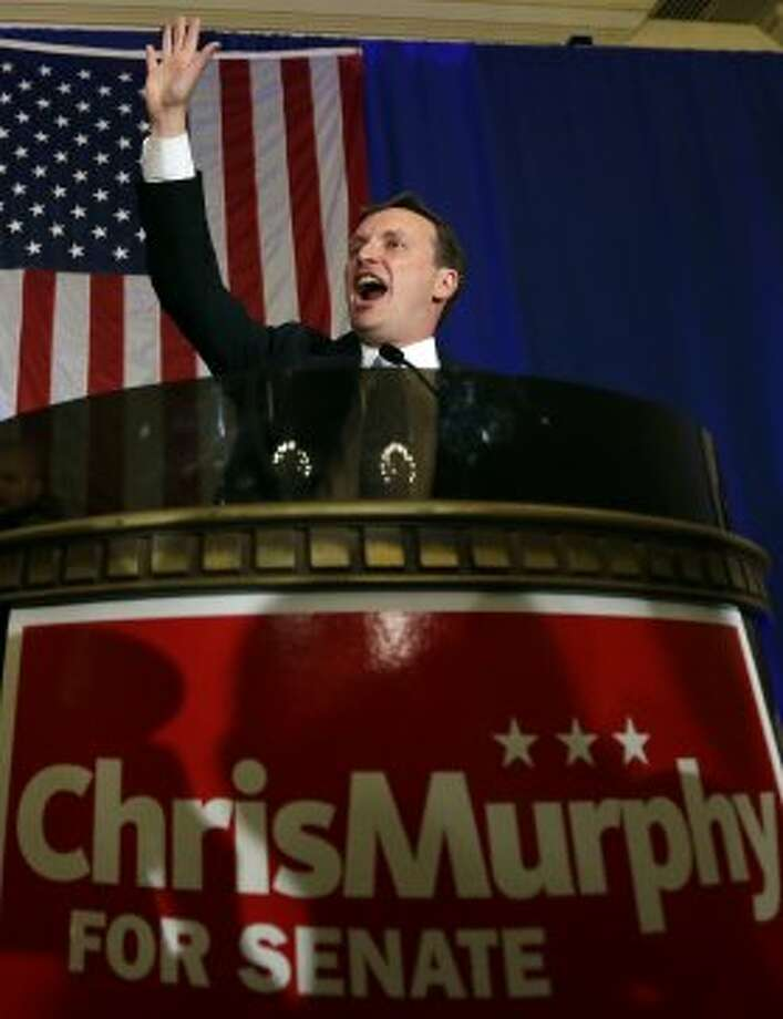 Democrat U.S. Rep. Chris Murphy speaks to supporters as he celebrates his primary victory in New Haven, Conn. Tuesday, Aug. 14, 2012 for the open U.S. Senate seat being vacated by retiring U.S. Sen. Joe Lieberman. (Elise Amendola / Associated Press)