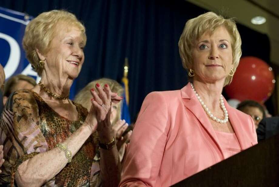 Republican candidate for U.S. Senate Linda McMahon, right, addresses supporters as her mother Evelyn Carson, left, looks on after her in win in the Connecticut primary against Chris Shays in Stamford, Conn., Tuesday, Aug. 14, 2012. McMahon will face Democratic U.S. Rep. Chris Murphy in November. (Jessica Hill / Associated Press)