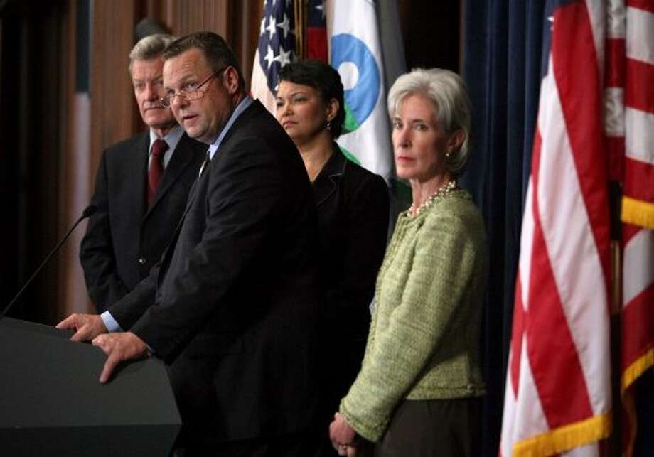 Senator Jon Tester (D-MT) (2nd L)  speaks as Senator Max Baucus (D-MT) (L) , EPA Administrator Lisa Jackson(2nd R) and Health and Human Services Secretary Kathleen Sebelius listen on June 17, 2009 in Washington, DC.  The EPA announced the agency has determined that a public health emergency exists at the Libby asbestos site in northwest Montana. (Robert Giroux / Getty Images)