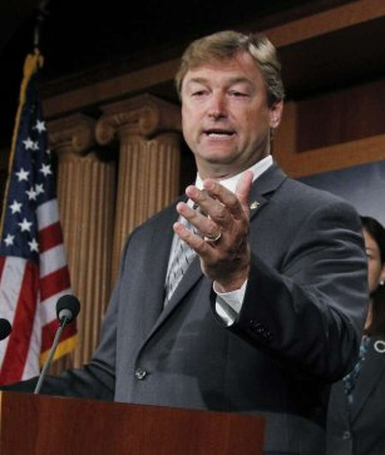 In this Sept. 8, 2011, file photo Sen. Dean Heller, R-Nev., speaks during a news conference, called to demand that the Joint Select Committee on Deficit Reduction open the entirety of its proceedings to the public, on Capitol Hill in Washington. Republicans' clear shot at winning control of the Senate is attracting tens of millions of dollars from GOP-allied outside groups eager to spend on a surer bet than the White House race. Control of the U.S. Senate will hinge on some tight races, including the Nevada race, seen by Democrats as one of their best chances of unseating one of the newest Republican senators, Heller. (Manuel Balce Ceneta / Associated Press)