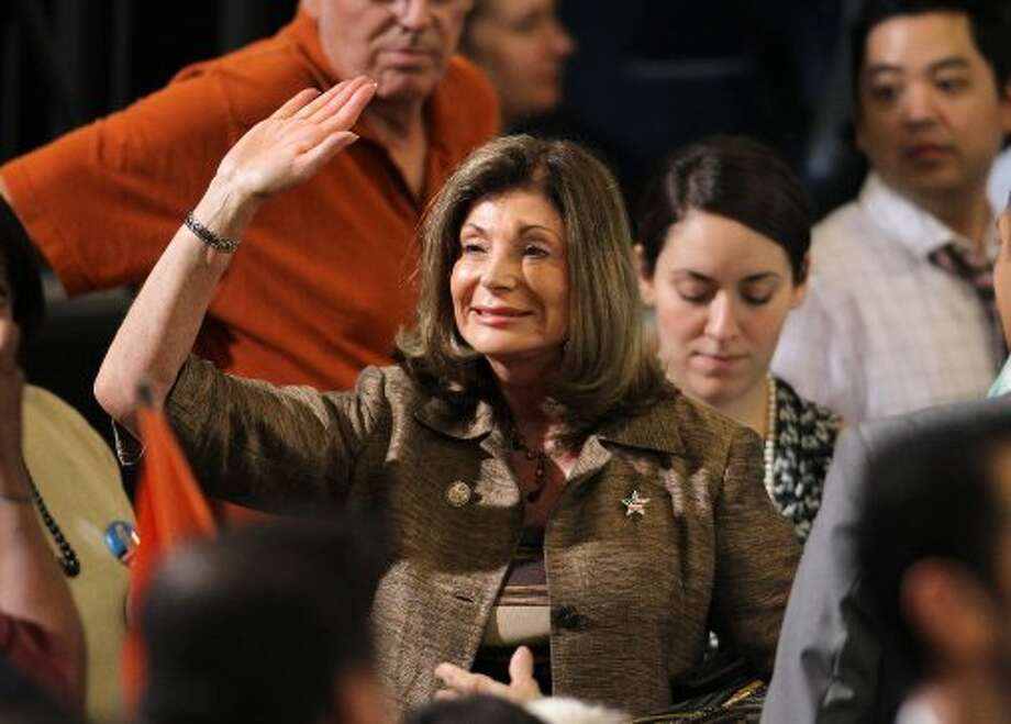 Nevada Democratic Senate candidate Rep. Shelley Berkley, D-Nev. waves to supporters before a stump speech by President Barack Obama, Wednesday, Aug. 22, 2012, in North Las Vegas, Nev. (Isaac Brekken / Associated Press)