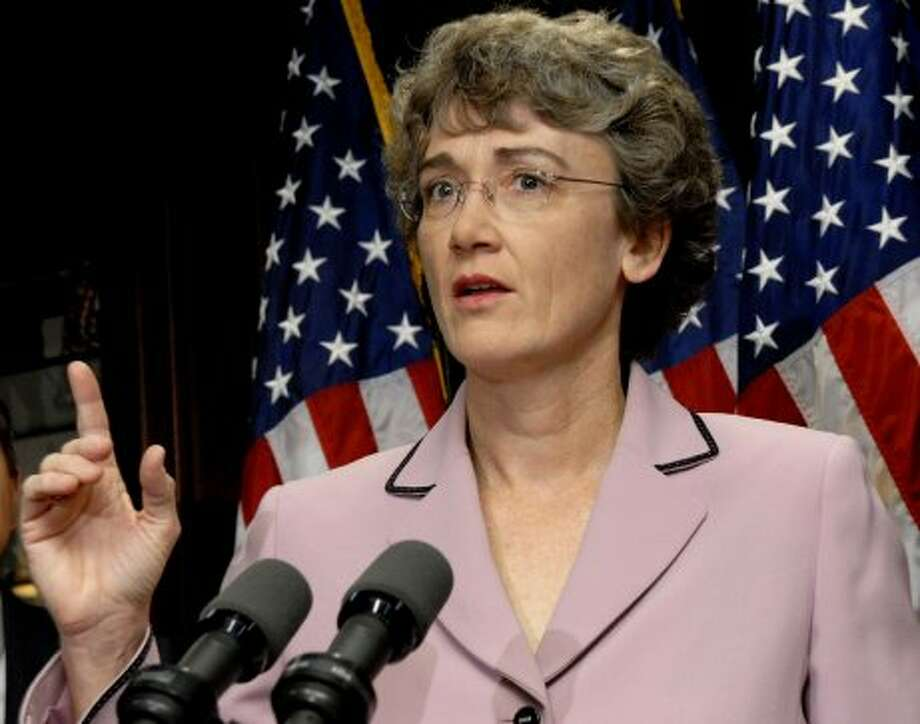 Heather Wilson, U.S. representative from New Mexico, speaks at a news conference with other House Republican leaders in Washington, D.C., U.S., on Wednesday, Jan. 23, 2008. Wilson called for a renewal of the Foreign Service Intelligence Act. (JAY MALLIN / BLOOMBERG NEWS)