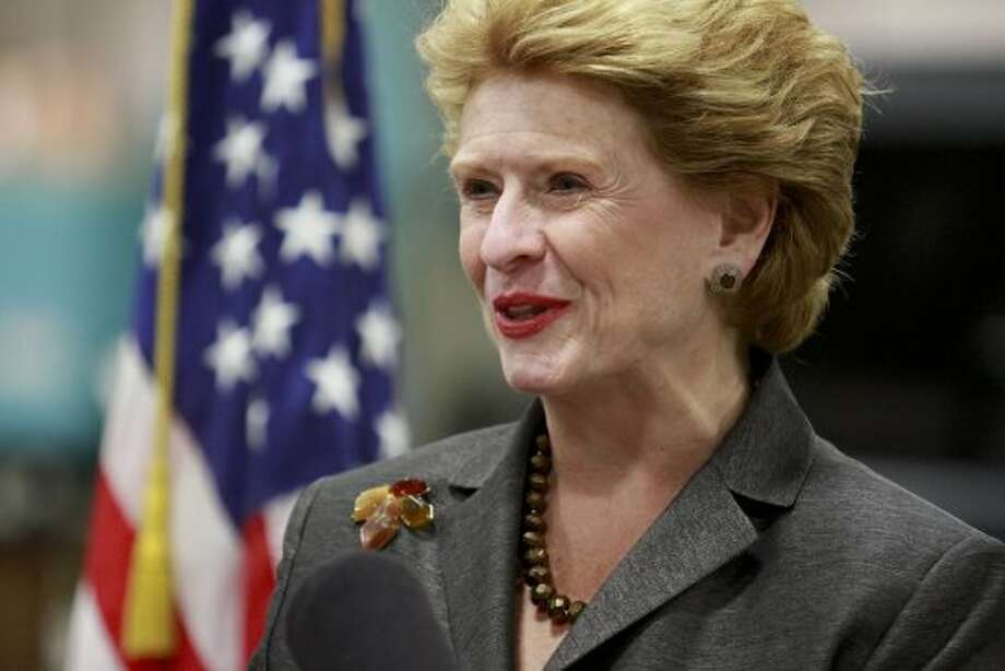 U.S. Sen. Debbie Stabenow talks during a news conference, Monday, Sept. 17, 2012, at the Alexander Dodds Company in Grand Rapids, Mich. Stabenow showed her new campaign ad focusing on her efforts to combat counterfeiting of parts in China.  (Sally Finneran / Associated Press)