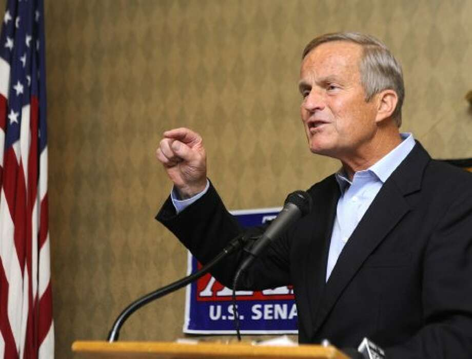 Missouri Congressman and Republican senate candidate Todd Akin speaks to about 50 members and visitors at the Columbia, Mo. Pachyderm Club at Jack's Gourmet Restaurant in Columbia on Friday, Sept. 7, 2012. (Don Shrubshell / Associated Press)