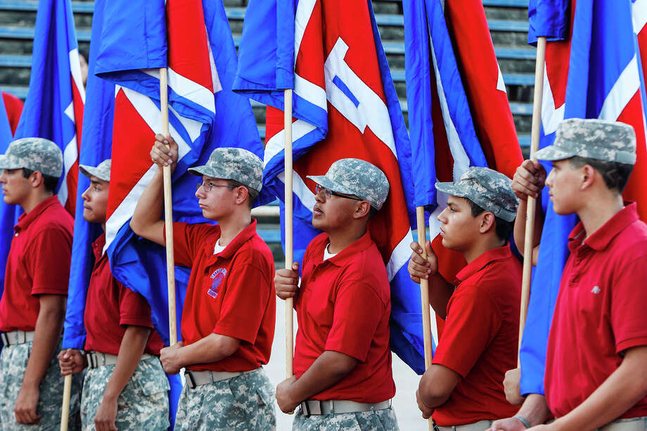 The Jefferson JROTC flag runners get ready for action prior to their game with Lee at Alamo Stadium  on Sept. 21, 2012.  MARVIN PFEIFFER/ mpfeiffer@express-news.net Photo: MARVIN PFEIFFER, Express-News / Express-News 2012