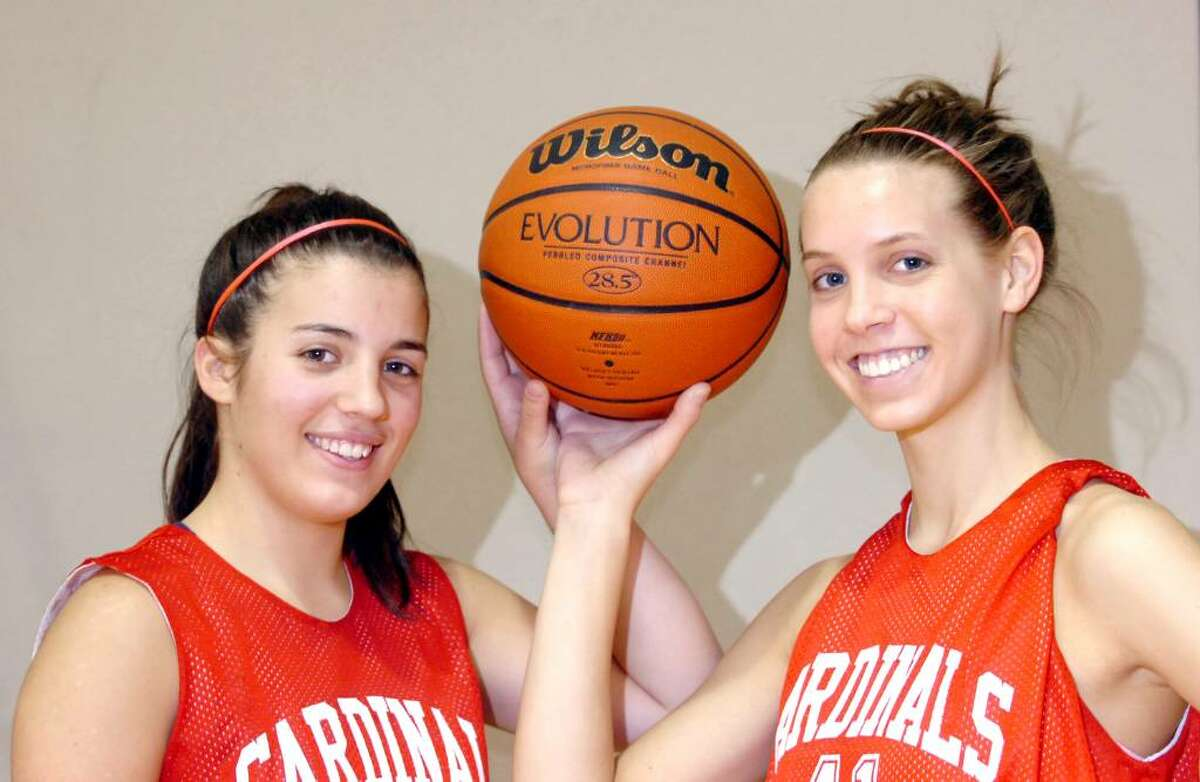 Greenwich High School basketball captains Jessica Fiscella, left, and Erin Laney are set to lead the Cardinals into the 2009 season,photographed at GHS Tuesday afternoon, Dec. 8, 2009.