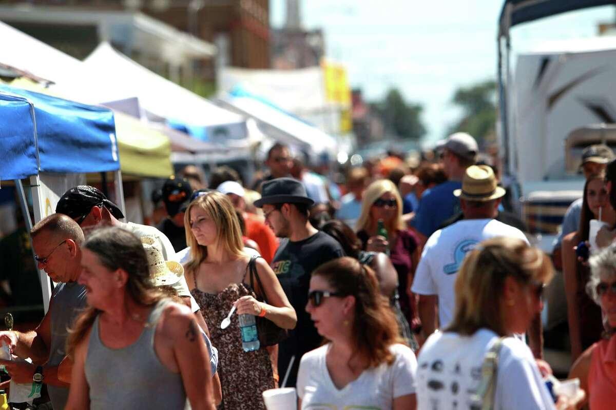 Crowds gather during the 2012 Galveston Island Wild Shrimp Festival.