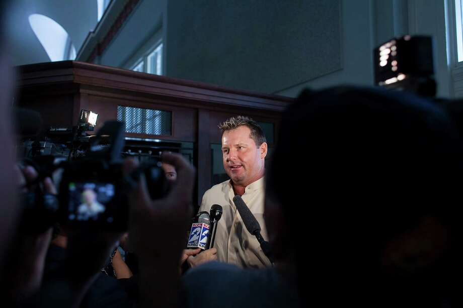 Media members asked Roger Clemens if playing for the Astros is in his future. Photo: Nathan Lindstrom / ©2012 Nathan Lindstrom