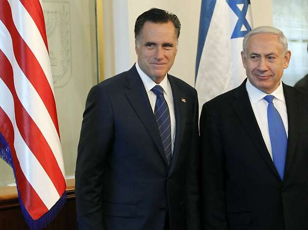 FILE - In this July 29, 2012 file photo, Republican presidential candidate, former Massachusetts Gov. Mitt Romney meets with Israel's Prime Minister Benjamin Netanyahu in Jerusalem.  It is a taboo for Israeli leaders to give even the slightest hint of favoritism in politics in the United States, Israel's closest ally. So some Israelis are squirming over a perception that Prime Minister Benjamin Netanyahu is siding with Republican Mitt Romney in the U.S. presidential race, in the belief he would take a harder line on archenemy Iran. That, some fear, is putting Israel's alliance with Washington at risk if Barack Obama wins. (AP Photo/Charles Dharapak, File) Photo: Charles Dharapak, Associated Press