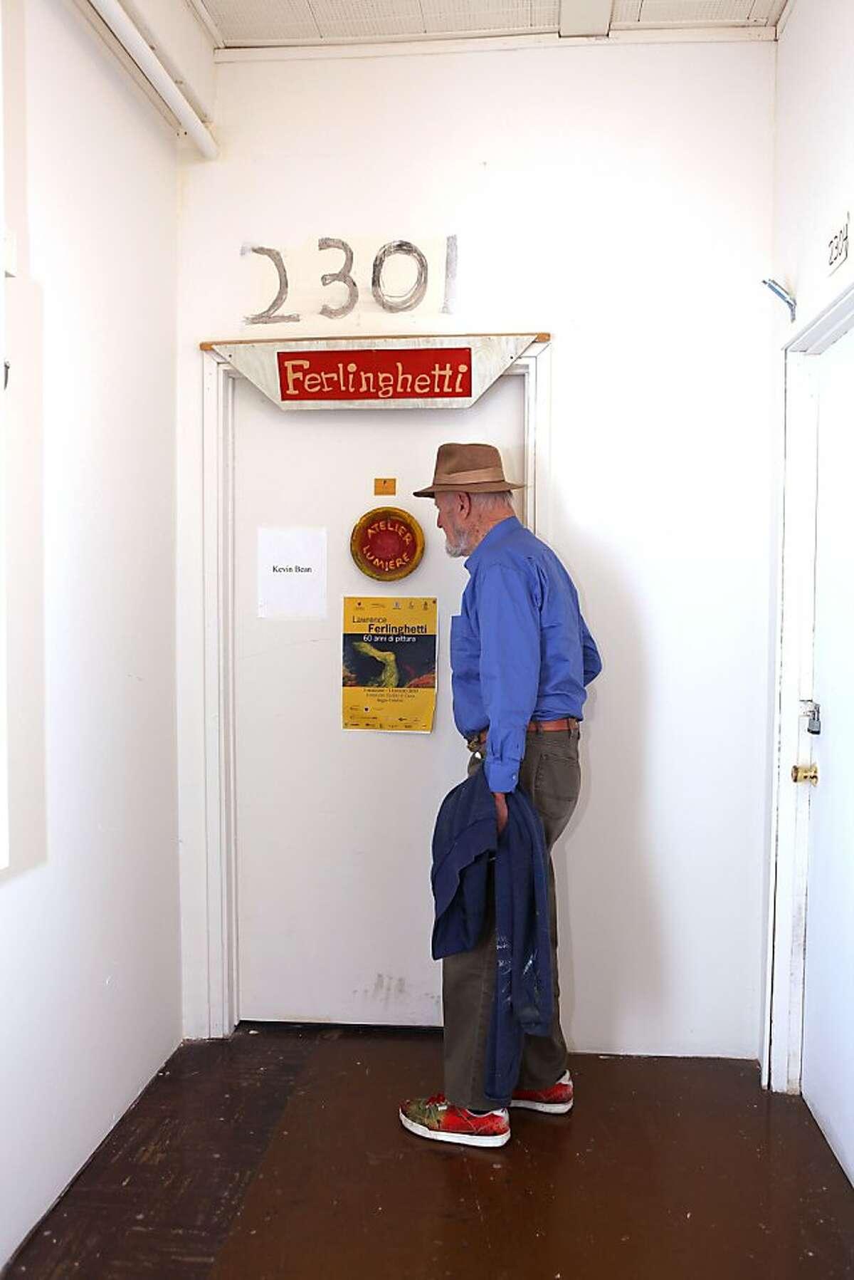Legendary poet, artist, and publisher Lawrence Ferlinghetti going into his art studio in San Francisco, Calif., on Monday, September 10, 2012.