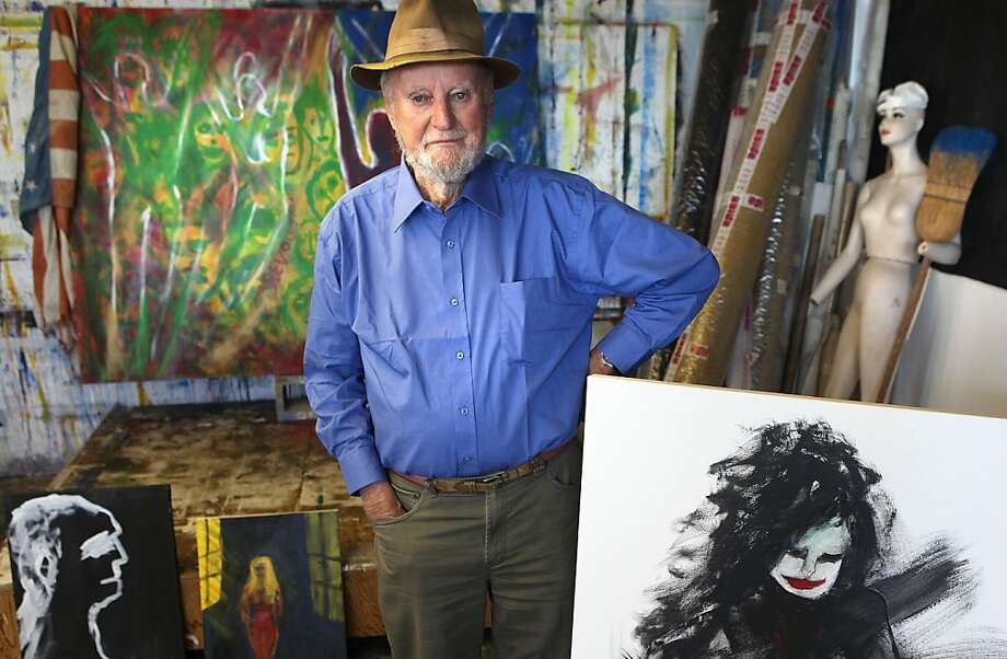 Lawrence Ferlinghetti considers painting in his Hunters Point studio the lighter antidote to his more painstaking poetry. Photo: Liz Hafalia, The Chronicle