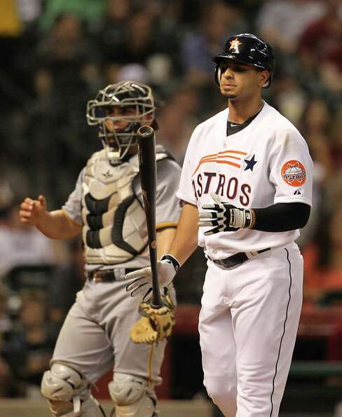 Houston Astros right fielder Fernando Martinez (21) reacts as he strikes out during the fourth innin
