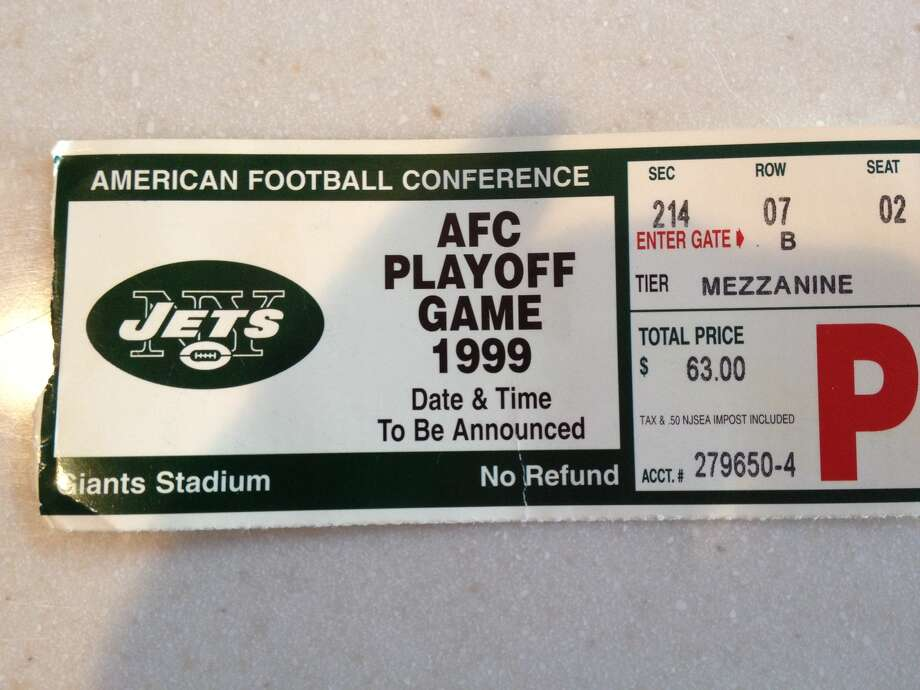 Pete Iorizzo's ticket stub from a 1999 Jets-Colts playoff game.