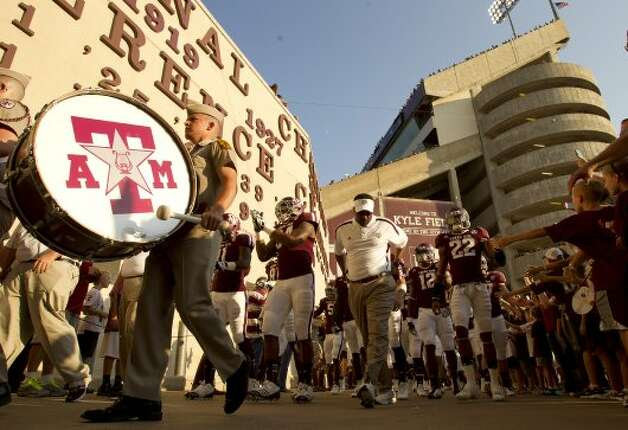 Texas A&M University head coach kevin Sumlin leads his team to the tunnel before his football game against South Carolina State University, Saturday, Sept. 22, 2012, in College Station.  ( Nick de la Torre / Houston Chronicle ) (Houston Chronicle)