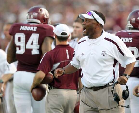 Texas A&M University heach coach Kevin Sumlin yells instructions to his players during the second quarter of a NCAA football game against South Carolina State University, Saturday, Sept. 22, 2012, in College Station.  ( Nick de la Torre / Houston Chronicle ) (Houston Chronicle)