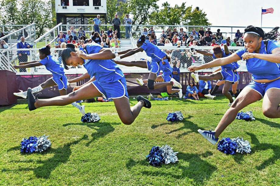 Albany High cheerleaders during Saturday's game against Bethlehem at Bleeker Stadium in Albany Sept. 22, 2012.  (John Carl D'Annibale / Times Union) Photo: John Carl D'Annibale / 00019287A