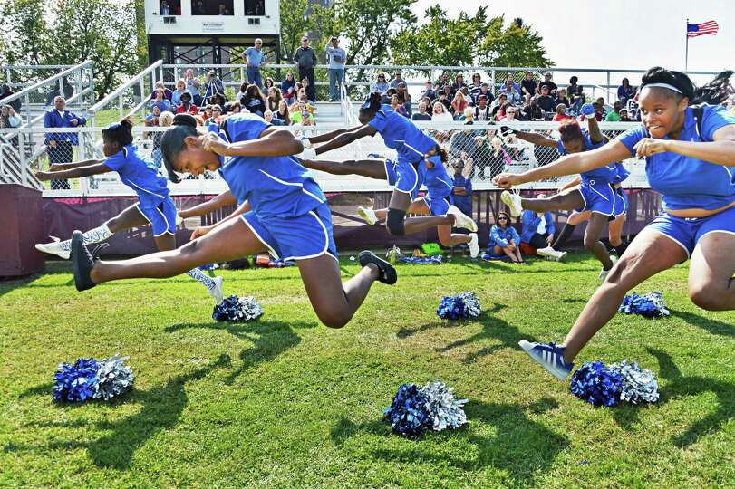 Albany High cheerleaders during Saturday's game against Bethlehem at Bleeker Stadium in Albany Sept.