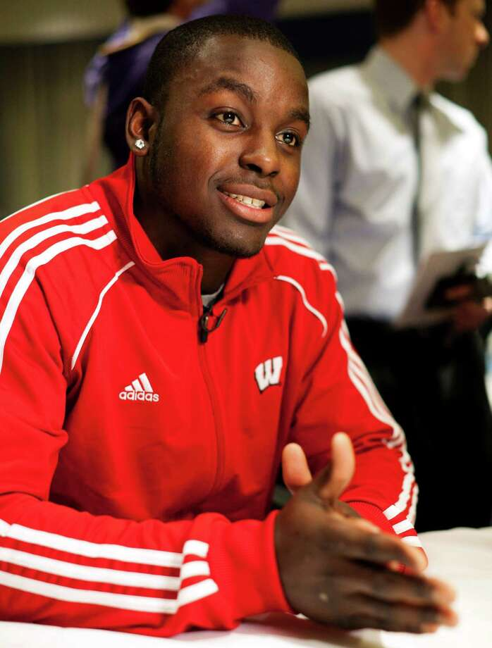 Wisconsin running back and Heisman Trophy finalist Montee Ball attends an informal roundtable conference with journalists, Friday, Dec. 9, 2011, in New York. (AP Photo/John Minchillo) Photo: John Minchillo / FR170537 AP