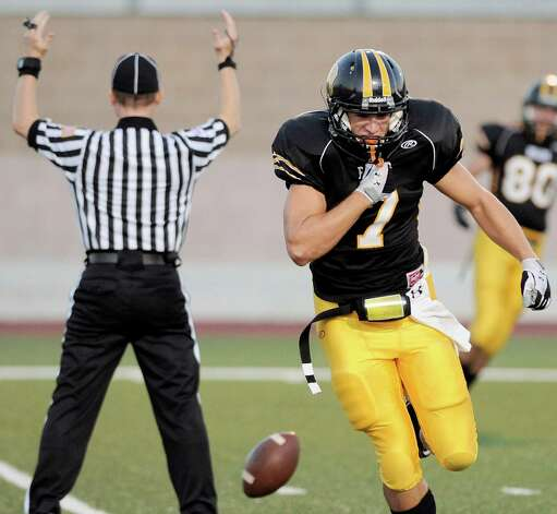 Brennan wide receiver Dillon Gatian celebrates a touchdown during a high school football game against Southwest, Saturday, Sept. 22, 2012, at Farris Stadium in San Antonio. Photo: Darren Abate, Express-News