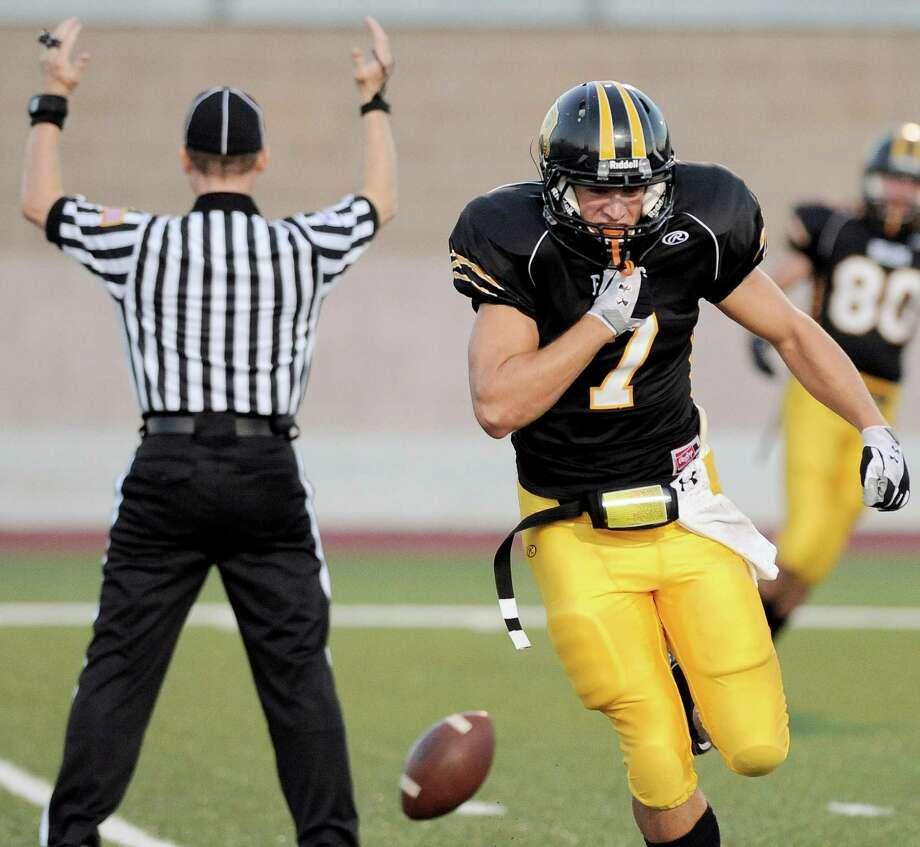 Brennan wide receiver Dillon Gatian celebrates a touchdown during a high school football game against Southwest, Saturday, Sept. 22, 2012, at Farris Stadium in San Antonio. Photo: Darren Abate, Express-News