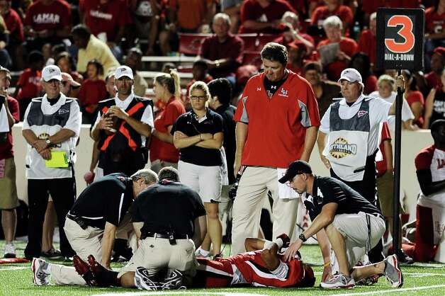 Lamar wide receiver  Reggie Begelton injured himself in the second quarter in the game against Langston at Provost Umphrey Stadium on Saturday, September 22, 2012. Photo taken: Randy Edwards/The Enterprise Photo: Randy Edwards
