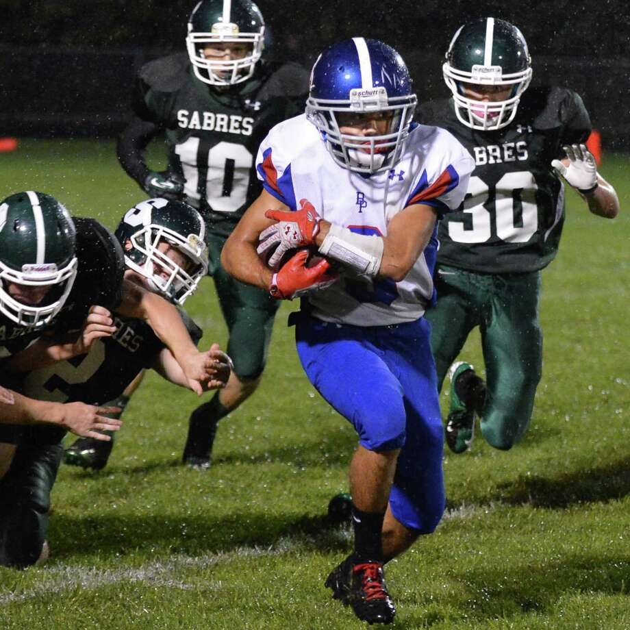 Broadalbin-Perth's #3 Luigi Magliocca gets through Schalmont's defense during Saturday night's game in Rotterdam Sept. 22, 2012.  (John Carl D'Annibale / Times Union) Photo: John Carl D'Annibale / 00019330A