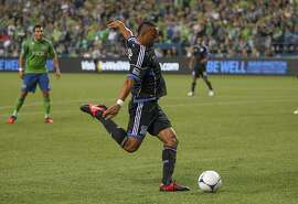 SEATTLE, WA - SEPTEMBER 22: Victor Bernardez #26 of the San Jose Earthquakes scores the second goal against the Seattle Sounders at CenturyLink Field on September 22, 2012 in Seattle, Washington. The Earthquakes defeated the Sounders 2-1. (Photo by Otto Greule Jr/Getty Images)